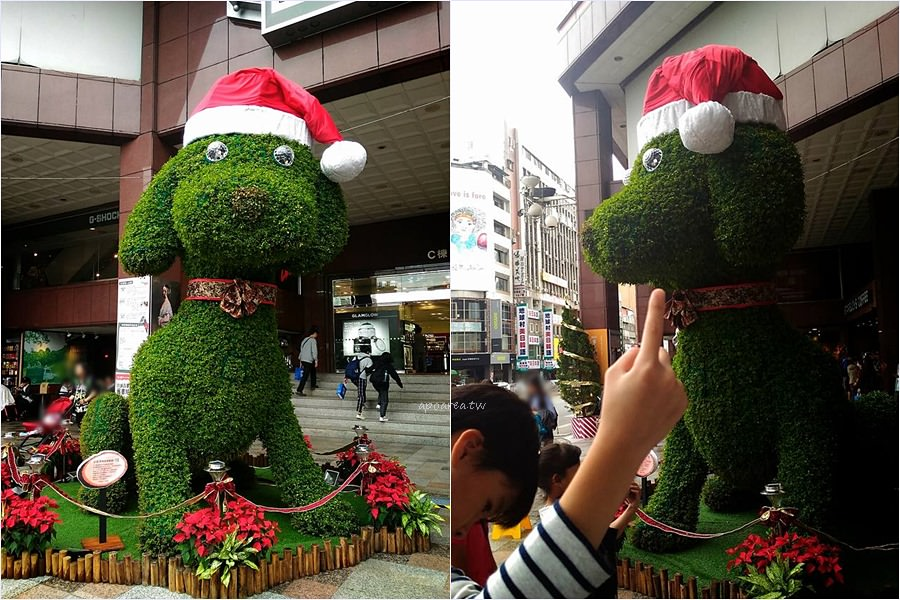 中友百貨聖誕小汪子|超萌聖誕狗 紅帽站崗超可愛 還會搖頭甩尾巴 台中應景聖誕樹