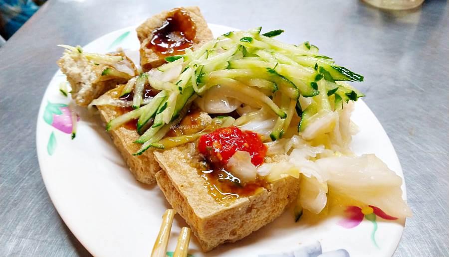 20200219084654 59 - 四平臭豆腐 泡菜小黃瓜給滿滿,還有大腸麵線、豬血湯,素食可,後方備有停車場